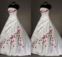 White Satin rosso ricamato abiti da sposa Plus Size abito di sfera per la sposa 2020 senza spalline Lace-up Pieghe ha coperto Vintage Wedding Gowns