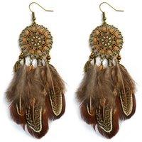 Boho Retro Style with Beaded Feather Tassel Drop Dangle Earrings Dream Catcher Shape Hoop Earrings for Women