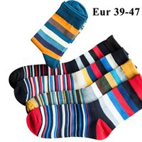 10pcs = 5pairs Mens Cotton Kleid Socken Plus Large Big Size 44, 45, 46, 47, Chromatische Streifen Socken Calcetines Happy Funny Sox Meias MX190719