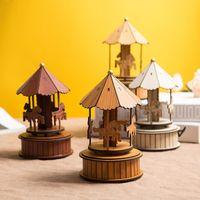Carrousel Muziek Doos Home Decor Desktop Mode Creatieve Houten Decoratie Leuke Dome Muziek Doos Verjaardag Kerstcadeau