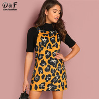 Dotfashion Bib Pocket Front Animal Print Corduroy Dress Wome...