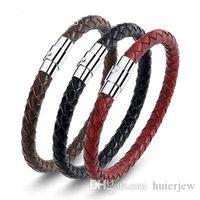 Bracelet en cuir Véritable fermoir tressé Bracelets masculins Bracelets Bijoux Bracelet magnétique en acier inoxydable
