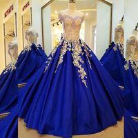 2020 Luksusowa Złota Aplikacja Koronki Royal Blue Ball Suknia Wieczór Quinceanera Suknie Off The Ramię Corset Plus Size Formalna sukienka imprezowa