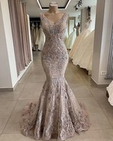 2019 Lace Beaded Sexy African Dubai Evening Dresses Deep V- n...