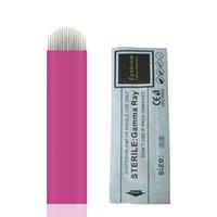 Pink 18-pin U Shape 0.18mm Tattoo Aguja de cejas Tatuaje Agujas Maquillaje permanente Ceja Bordado de la hoja para Microblading 3D