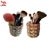 Pretty Crystal Makeup Brush Organizer Case Metal Base European Style Eyebrow Pencil Lipstick Cosmetic Jewelry Storage Display Gift Box