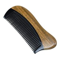 Sándalo verde natural del peine del pelo - No estático de madera fina Diente Negro cuerno de búfalo Peine (sándalo Verde)