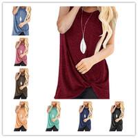 T-shirt da donna senza maniche T-shirt Top Bretelle Gilet Colore puro Legato Knot Tank Per Lady Fashion Shaks Tops Abbigliamento casual Home Abbigliamento S-2XL A42902