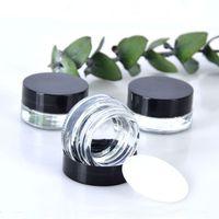Klare Augencreme Glasflasche 3G 5G Leerer Glas Lippenbalsam Container Breite Mund Kosmetische Probengläser mit schwarzer Kappe
