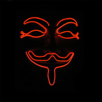 Halloween LED illuminated vendetta EL mask glow for role playing party Smiley face funny mask Red Blue Green