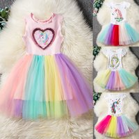 Tenues de Licorne Bébés Filles + Jupes arc-en-ciel TUTU 2PCS Ensembles Infant Toddler Fille Vêtements Princesse Robe Boutique Enfants Summer Ins
