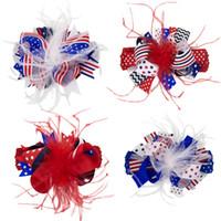 4 colori 4 luglio Bandiera americana Fascia per capelli Feather Hairbands Hair Clip Moda Headwear Accessori per capelli CCA11660 60 pezzi