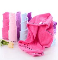 Trockenes Haar-Tuch aus Mikrofaser Absorbent trockenes Haar Caps Trocknen Spitze Turban Wrap Hut Dusche Spa Badekappen 5 Farben WZW-YW3325