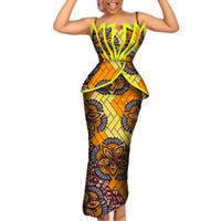 Moda Africano Imprimir Ruffles Top e Saias Conjuntos para As Mulheres Bazin Riche Africano Roupas Femininas 2 Peças Lápis Saias Define WY206