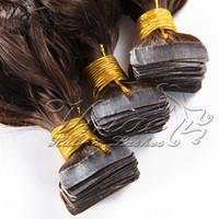Pelo de Remy Virgen no procesado peruano 14 a 26 pulgadas de onda corporal recta 100 g Cinta de color natural en extensiones de cabello humano