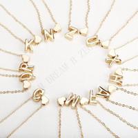 26 Intial Mektup Alfabe Kalp Kolye Kolye Kadınlar Için Altın Renk A-Z Alfabe Kolye Zinciri Moda Takı Hediye