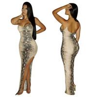 2019 pele de cobra impressão maxi vestidos de baile mulheres sexy side dividir hem spaghetti strap backless tornozelo comprimento jumper dress