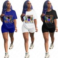 Black Lives Matter Letter Printed Shorts Set WomenTracksuit футболка с коротким рукавом + байкерские шорты 2 шт экипировка спортивный костюм D61208