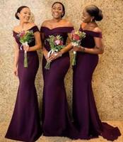 2020 Regency von der Schulter Satin Satin Lange Brautjungfer Kleider Geraffte Sweep Zug Hochzeit Gast Mädchen Ehrenkleider
