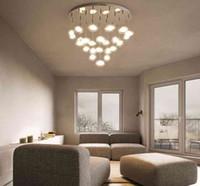 البساطة الحديثة LED الثريا السقف الشمال الزجاج الكرة شنقا أضواء غرفة نوم مصابيح الإضاءة غرفة المعيشة قلادة مصابيح LLFA