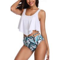 CALOFE 2019 Conjuntos de traje de baño de dos piezas Mujeres Cintura alta Push Up Imprimir Sexy Trajes de baño Conjunto femenino Traje Biquini Ropa de playa