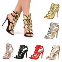 7color Designer Golden Metal Wings Leaf Strappy Dress Sexy S...