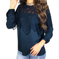 Long Sleeve Blouses for Women 2019 Lace Shirt Round Neck Hol...