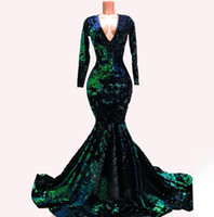 Terciopelo verde esmeralda sirena vestidos de noche formales con ocasión de manga larga 2020 de lujo brillante de las lentejuelas Winter Party baile vestido