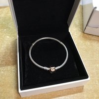 Clip en gros-or classique BRACELET Coffret original pour Pandora Argent 925 Serpent Charms Chain Bracelets pour les femmes des hommes