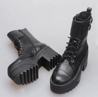 Kadın Gerçek Deri Jeffrey Yeni Sürüm Platformu Boots Campbell Londra Stil Moda Defile Bilek Boots Ayakkabı Dantel-up