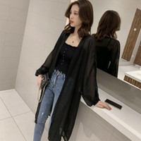 Open Front Chiffon Blouses Casual Loose Women Long Sleeve Sh...
