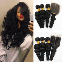 Loose Wave Brazilian Virgin Hair Bundles with Closures Natur...