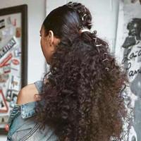 Afro soplo de cordón de caballo caballo de caballo cabello humano rizado rizado caballo ponytail bollo para las extensiones de pelo africano de alta hojamosa Color marrón oscuro con 2 clips