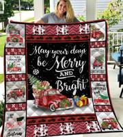 Weihnachtsdecke Quilt Brief 3D-Druck-Decken Outdoor-Reisen Picknick-Strand-Matte Handtuch weiche warme Wattepad 3styles GGA2892