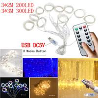 USB LED 문자열 조명 DC5V 3 * 3M 3 * 2M LED 창 커튼 조명 원격 제어 디밍 구리 와이어 크리스마스 라이트 웨딩 파티 장식
