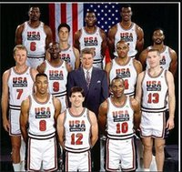 College 1992 USA Team Dream Team One Basket 12 John Stockton maglia 4 Christian Laettner 11 Karl Malone 13 Chris Mullin 15 Johnson