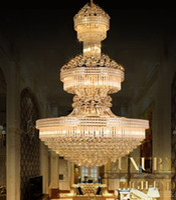 Stor guldglans kristall LED-ljuskristall ljuskronor Villa Dubbelgolv Living Room Pendant Lamp Lights Duplex Villas Hotel Lobby