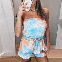 Rompers Tie- Dye Off Shoulder Fitness Jumpsuit Sexy Strapless...