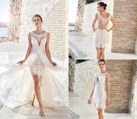 Богемные 2020 короткие свадебные платья с съемным юбкой кружевной аппликации без рукавов пляжные халаты де Марие свадебные платья