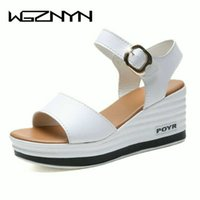 2020 Summer New Leather High Heel Wedge Female Sandals Platf...