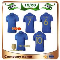 2019 2 estrellas # 10 MBAPPE 100 años de fútbol Jersey 19/20 100th Griezmann Pogba Camisa de fútbol Kante Giroud Uniformes de fútbol azul Venta