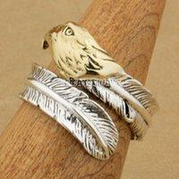 Hurtownia-25 Sterling Silver Feather Brass Eagle Fashion Pierścień 9T023 Darmowy rozmiar US 6 do 9
