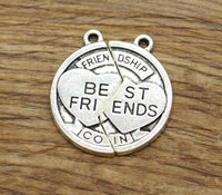 Best Friends Charm 2 pezzi Coin Charm Friendship 35 Set / lotto Charms tono argento antico 25x27 2018