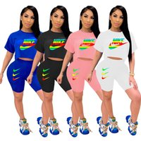 Brand Women Tracksuit Summer 2 Piece Set Short Sleeve T- Shir...