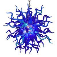 멋진 매달려 펜 던 트 조명 램프 아트 데코 전통적인 손에 유리 샹들리에 거실 홈 인테리어 블루 무라노 크리스탈 램프