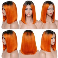 13 * 4 Dantel Ön Peruk Kısa Bob 1B Turuncu Omber Renk Ön Klumped Doğal Saç Çizgisi Hint Perulu Brezilyalı Saç Ağartma Knot 180% Yoğunluk Malezya