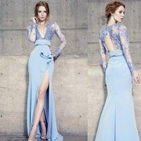 2020 Langer Ärmel Blau Abendkleider Backless tiefer V-Ausschnitt-Spitze Applique Nixe Hoch Split-formalen Abschlussball-Kleid-Partei-Kleid