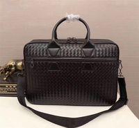 Kaisiludi couro de mão-tecido dos homens bolsa bolsa de couro dos homens maleta de negócios informais saco do computador moda homens e mulheres