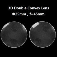 100 unids / lote Diámetro acrílico 25 mm 45 mm focal BiConvex Lente para Google Cartón Realidad virtual 3D VR Gafas Lente DIY Al por mayor