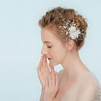 Elegante Haarnadeln Frauen Weiße Blume Kristall Perle Braut Haarband Krone Diademe Kopfschmuck Hochzeit Haarschmuck Schmuck